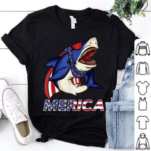 Shark American Flag Sunglasses Cape USA 4th of July shirt