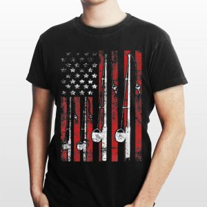 Vintage American Flag Fishing Pole shirt