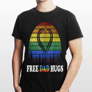 Vintage Free Dad Hugs Rainbow Heart Pride shirt