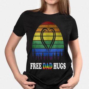 Vintage Free Dad Hugs Rainbow Heart Pride shirt