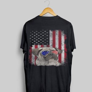 4th of July Pug Sunglasses American Flag Patriotic shirt