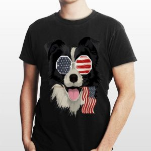 Border Collie Dog Lover American Flag Sunglasses shirt