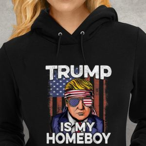 Donald Trump Is My Homeboy Glasses Headband Usa Flag 4th Of July Youth tee