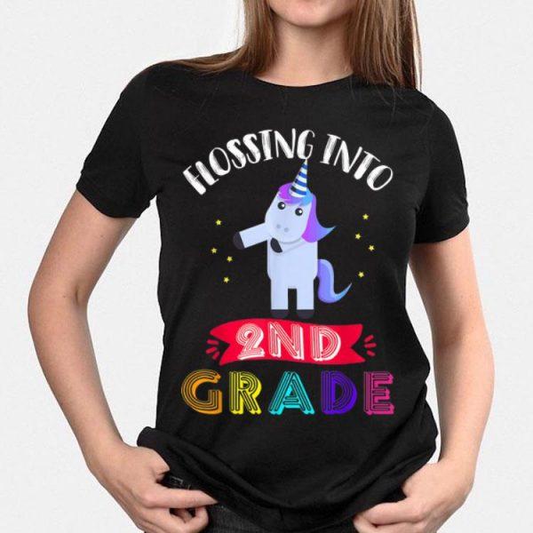 Flossing Into 2nd Grade Cute unicorn Back To School shirt