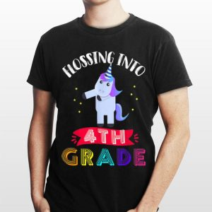 Flossing Into 4th Grade Cute unicorn Back To School shirt