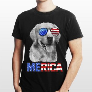 Golden Retriever Dog Merica 4th July Patriotic American shirt