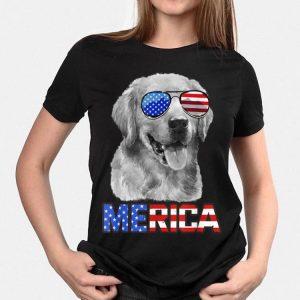 Golden Retriever Dog Merica 4th July Patriotic American shirt
