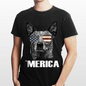 Merica Australian Cattle Dog with USA flag sunglasses shirt