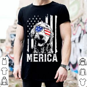 Merica Goldendoodle Golden Us Flag 4Th Of July shirt