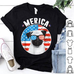 Pug 4Th Of July Merica Usa American Flag shirt