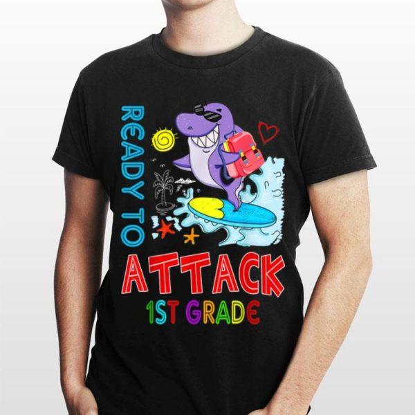 Ready To Attack 1st grade Shark Back To School shirt
