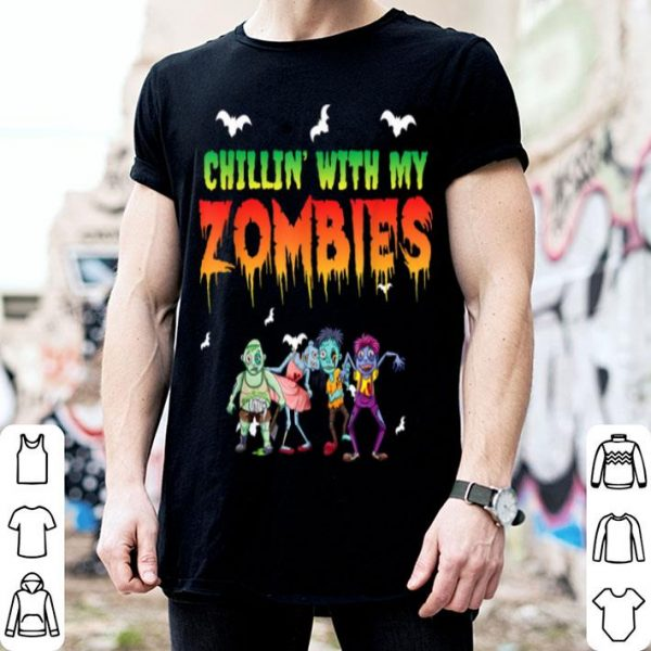 Awesome Chillin' With My Zombies Halloween Kids Funny shirt