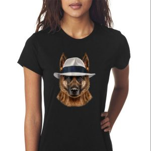 Awesome German Shepherd Dog in Fedora Hat shirt 2