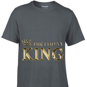 Top Birthday King Gold Crown guy tee