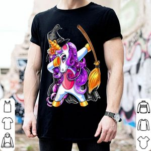 Top Dabbing Unicorn Halloween Witch Costume Broomstick Girl Gift shirt