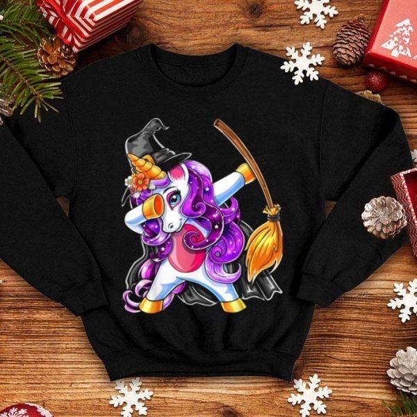 Top Dabbing Unicorn Halloween Witch Costume Broomstick Girl Gift shirt