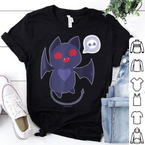 Top Kawaii Cat Bat Chibi Skull Devil Black Goth Halloween shirt