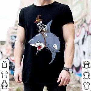 Top Skeleton Riding Shark Womens Mens Halloween Gifts shirt