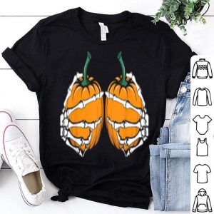 Awesome Pumpkin Boobs Funny Halloween Skeleton Hands shirt