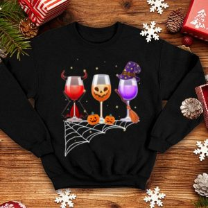 Beautiful Glasses Of Wine Halloween Costume Dracula Pumpkin shirt