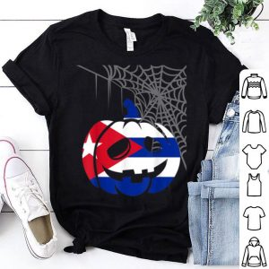 Funny Camiseta Cuba Halloween Cuban Costume Flag Pumpkin Spiderweb shirt