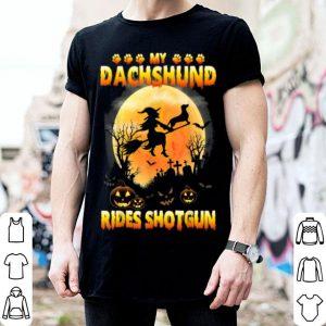 My Dachshund Rides Shotgun Scary Halloween 2019 shirt