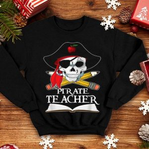 Pirate Teacher For Halloween Costume Funny Skull Men Women shirt