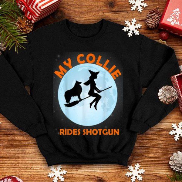 Top My Collie Rides Shotgun Halloween Witch shirt