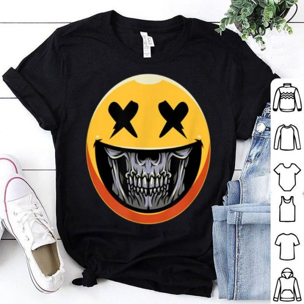 Awesome Cute Scary Halloween Smiley Skull Costume Emojis Gift shirt