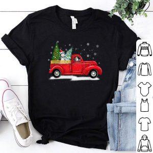 Funny Alaskan Malamute Riding Red Truck Xmas Merry Christmas Gifts shirt