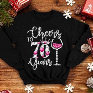 Funny Cheers to 70 Years 70th Birthday diamond wine Crown shirt