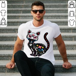 Funny Cute Sugar Skull Mexican Cat Halloween shirt