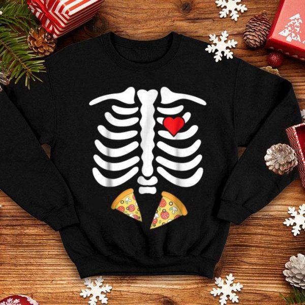 Funny Halloween Skeleton Junk Food Belly Pizza shirt