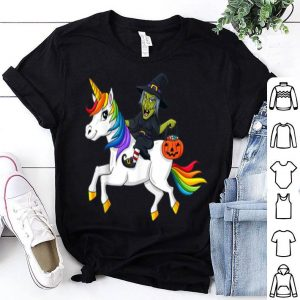 Hot Witch Riding Unicorn Funny Halloween Girls Kids shirt