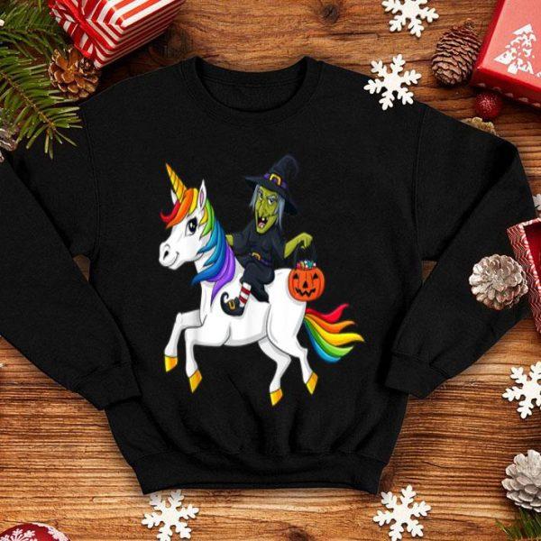 Hot Witch Riding Unicorn Funny Halloween Girls Kids shirt