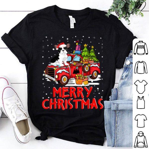 Nice French Bulldog Rides Red Truck Merry Christmas Pajama Funny shirt