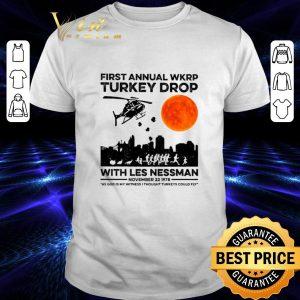 Official First annual wkrp Turkey drop with less nessman sunset shirt