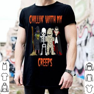 Original Chillin With My Creeps Vampire Halloween Skeleton Witch Gift shirt