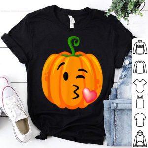 Premium Halloween Adults Kid Blow Kiss Wink Emoji Pumpkin Face shirt