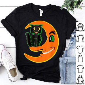 Premium Vintage Halloween Beistle Cat on the Moon Horror Gift shirt