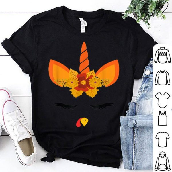 Awesome Funny Unicorn Turkey Face Gifts Thanksgiving Day for Kids shirt