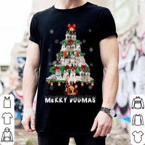 Hot Merry Dogmas Siberian Husky dog Christmas decor Xmas tree shirt