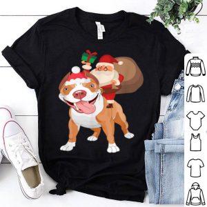 Hot Santa Riding Pitbull Christmas Pajama Gift shirt