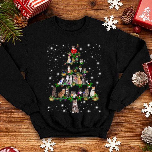 Nice Funny Cats Christmas Tree Tee Ornament Decor Gift shirt