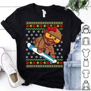 Nice Snowboarder Gingerbread Girl Snowboarding Ugly Christmas shirt