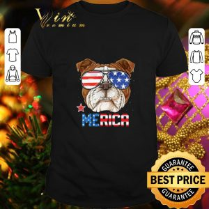 Nice Sunglass Bulldog Merica 4th July independence day American flag shirt