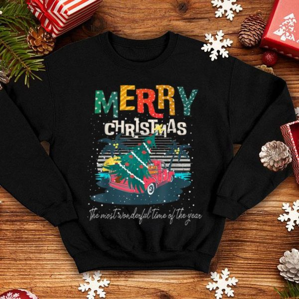Nice Tropical Merry Christmas Santa Red Truck Gift Xmas Sea Beach sweater
