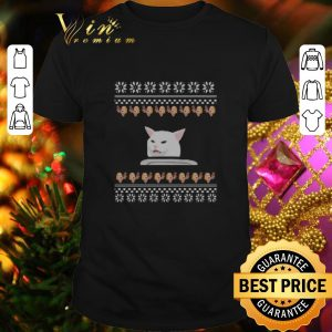 Official Woman Yelling Confused Cat meme Dinner ugly Christmas shirt