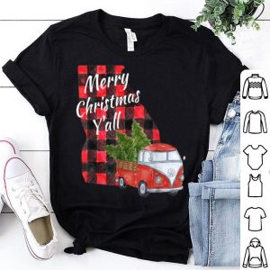 Original Merry Christmas Y'all Vintage Red Truck Xmas Tree Gift shirt
