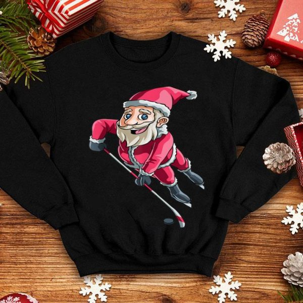 Premium Santa Ice Hockey Christmas Hat Puck Snow Funny Gift shirt
